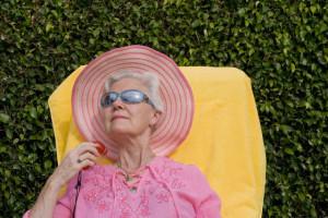 Elderly Woman Sunbathing
